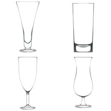 Pencil Sketch Of Empty Glassware For Alcohol Drink. Collection Of Glasses For Cocktail Isolated On White. Hand Drawn Illustration. Design Element For Bar And Restaurant Menu, Recipes, Flyers.