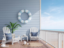 House Terrace By The Sea 3d Re...