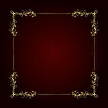 Vintage Gold Frame On Dark Bac...