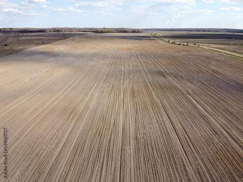 Treated farm field, aerial view. Agricultural land. Billede på lærred