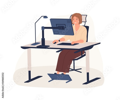 Happy female office worker sitting on chair at ergonomic workstation vector flat illustration. Modern woman working use computer looking at monitor isolated on white. Employee at innovative workplace