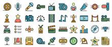 Celebrity Icons Set. Outline S...