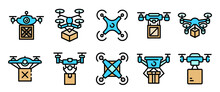 Drone Delivery Service Icons S...
