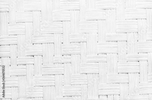 Obraz White grey bamboo weaving pattern, old woven rattan wall texture for background and design art work. - fototapety do salonu