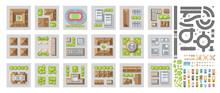 Vector Set Of Landscape Elements Of The City. Quarters Of The City. View From Above. Houses, Buildings, Road, Cars. (Top View)
