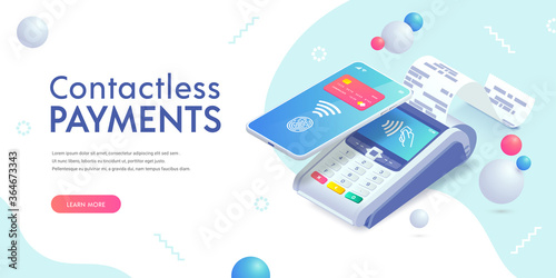 Vászonkép Contactless payment via smartphone isometric abstract banner concept