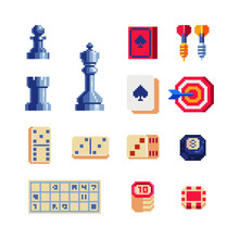 Desktop Games, Pixel Art 80s Style Icons Set Casino, Poker, Playing Cards, Chess, Checkers, Dominoes, Darts, Isolated Vector Illustration. Design For Logo, Sticker, App. Game Assets 8-bit Sprite.
