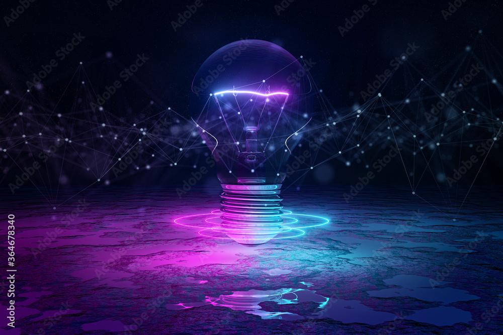 Fototapeta Lightbulb illuminating reflecting floor with blue and pink neon light 3D rendering