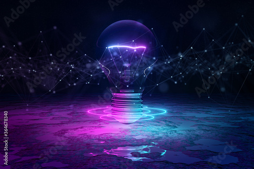 Fotomural Lightbulb illuminating reflecting floor with blue and pink neon light 3D renderi