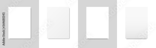 Fototapeta Set of templates of blank white sheets of A4 paper with different shadow. Isolated on gray and white background. Vector illustration. obraz