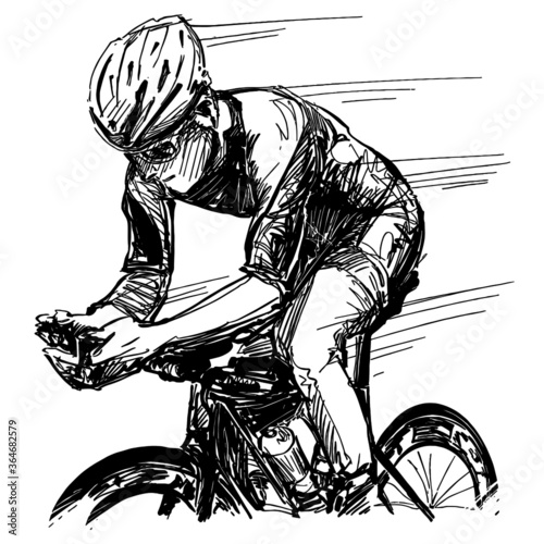 Obraz Drawing of the road bicycle competition  - fototapety do salonu
