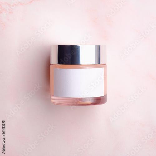 Tablou Canvas Elegant cream container, cosmetic glass bottle template for cream, gel