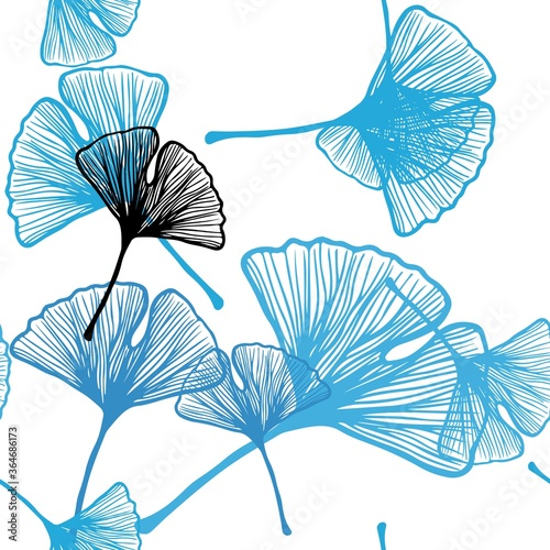 Fototapeta Light BLUE vector seamless natural artwork with leaves. Doodle illustration of leaves in Origami style with gradient. Design for wallpaper, fabric makers. obraz na płótnie