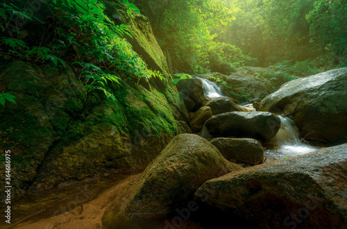 Fototapeta Rock or stone at waterfall. Beautiful waterfall in jungle. Waterfall in tropical forest with green tree and sunlight. Waterfall is flowing in jungle. Nature background. Green season travel in Thailand obraz