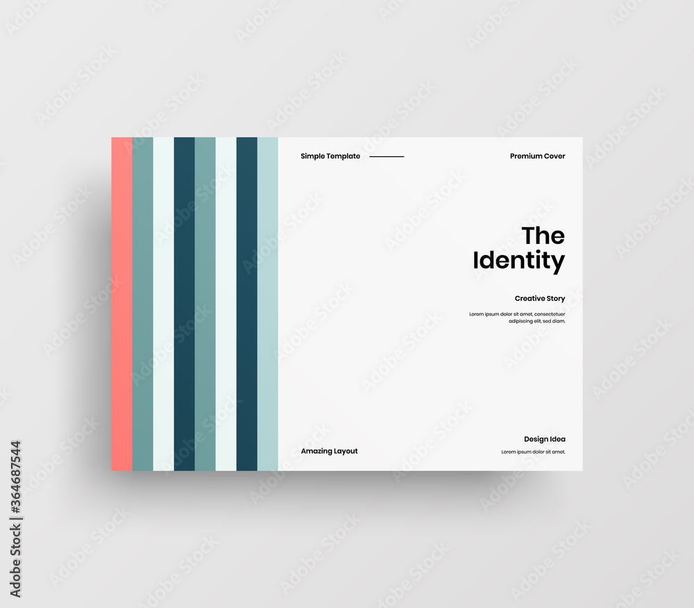Fototapeta Creative business presentation vector A4 horizontal orientation front page mock up. Modern corporate report cover abstract geometric illustration design layout. Company identity brochure template.