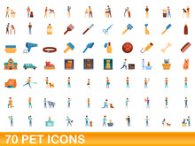 70 Pet Icons Set. Cartoon Illu...