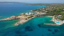 Aerial Drone Panoramic Photo Of Famous Seaside Area Of Agios Aimilianos Resort Area, Porto Heli, Argolida, Greece