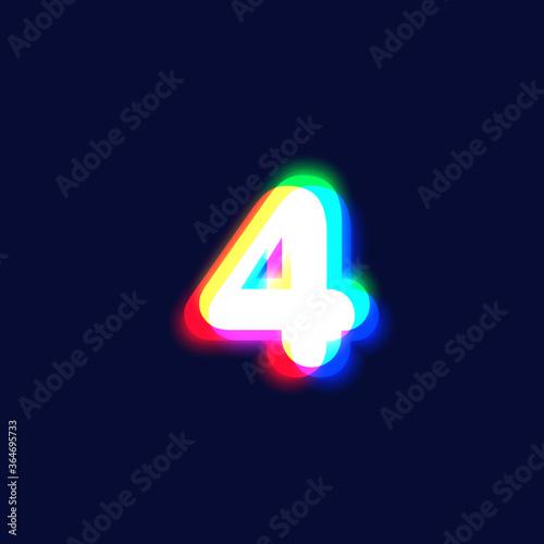 Valokuvatapetti Realistic chromatic aberration character '4' from a fontset, vector illustration