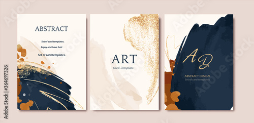 Fotografia Set of card with abstract shape, splash gold