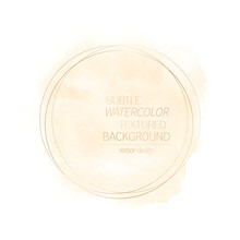 Watercolor Cloud Paint Background With Golden Round Frame - Vector. Perfect Art Abstract Design For Any Creative Ideas.