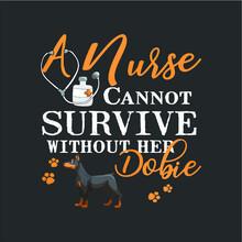 Womens Nurse Dobie Mom Funny Q...