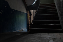 Dark Staircase Inside With A S...
