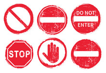 STOP No Entry Road Sign Icon S...