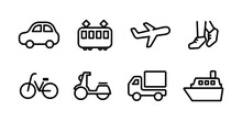 交通機関のアイコンのセット/シンプル/シルエット/乗り物