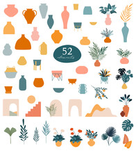 Collection Of Stickers And Floral Design Elements, Vases, Plants And Leaves, Hand Drawn In Trendy Doodle Style. Colorful Vector Illustrations And Prints