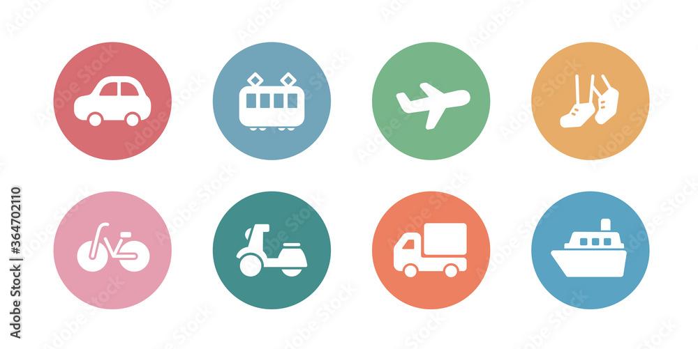 Fototapeta 交通機関のアイコンのセット/シンプル/シルエット/乗り物