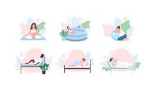 Pregnant Woman Flat Color Vector Faceless Character Set