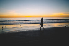 Lonely Woman Silhouette On Sandy Shore Of Tranquil Ocean During Sceni Sunset, Upset Girl Walking Near Sea On Coastline Feeling Depressed Recreating With Beautiful Nature Landscape In Evening.