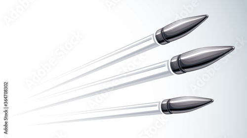 Photo Realistic bullets flying over white, vector 3D illustration.