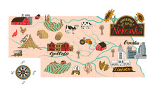 Illustrated Map Of  Nebraska S...