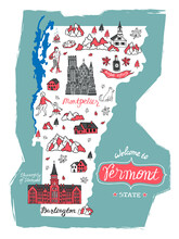Illustrated Map Of  Vermont, USA. Travel And Attractions. Souvenir Print