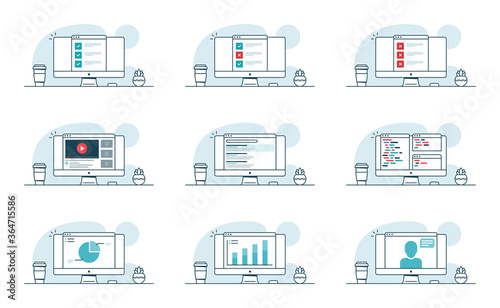 Fotografie, Obraz Set of computer concepts