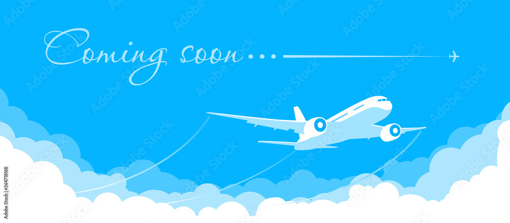 Fototapeta Blue sky with clouds and a plane taking off. Announcement of the opening and the beginning of flights after quarantine. Illustration, vector
