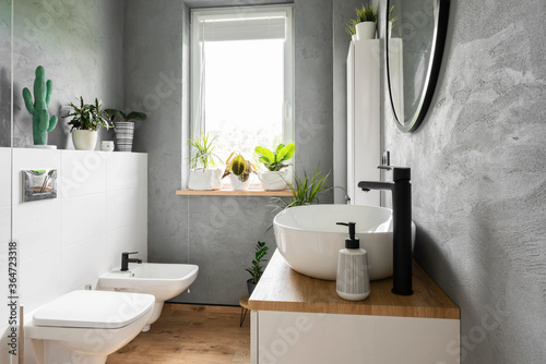 Fotomural Stylish interior of bathroom with grey wall, plants, window and wooden furniture in scandinavian style