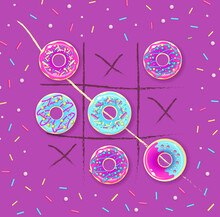 Tic Tac Toe With Sweet Donuts. Vector Ilustration. Sweet Background