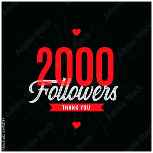 Vászonkép thank you 2k followers or 2000 subscribers celebration background