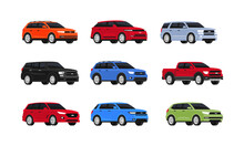 Car Suv Collection Isolated On White Background. Auto Side View. Set Of Of Different Models Of Cars. City Vehicles Transport. Vector Illustrayion In Flat Style. Red, Blue, Green And Yellow Automobile.