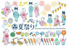 夏祭り 手描きベクタ...