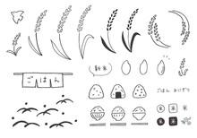 稲やごはん、米の手描きイラスト