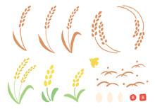 稲の手描きイラストセ...