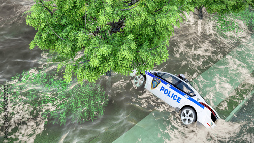 Photo flooded road during a flood caused by heavy rain 3d rendering