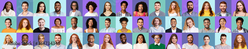 Fototapety, obrazy: Multiracial Happy People Faces On Violet And Turquoise Backgrounds