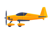 Retro Yellow Airplane With Propeller, Flying Aircraft Vehicle, Air Transport Vector Illustration