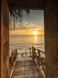 canvas print picture - Beautiful dor way to white beach with sunrise in background. Zanzibar