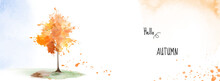 Autumn Banner Background With A Tree On Watercolor Stain Painting