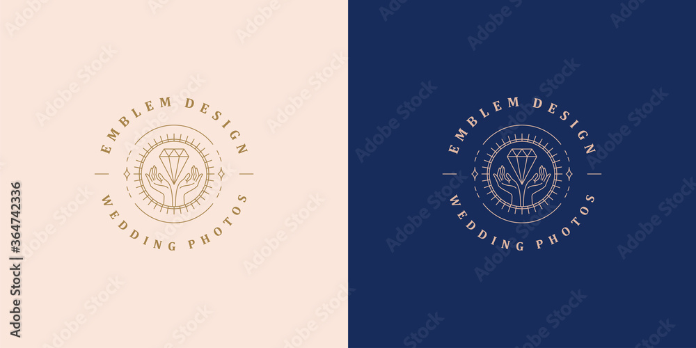 Fototapeta Minimal vector illustration of linear style emblem template with female hands holding luxury